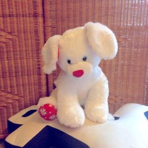 Build a bear white dog plush toy peppermint VGC